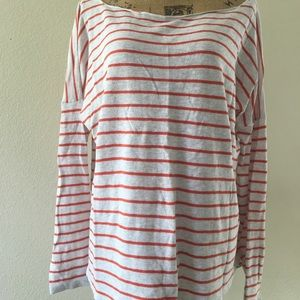 VINCE orange striped lightweight sweater
